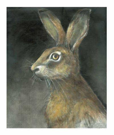 brown hare print by claire barker