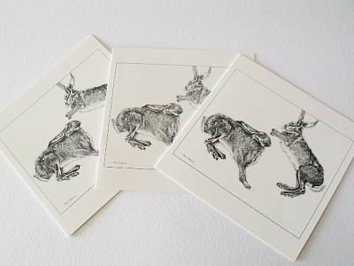 Jumping Hare Cards - Set of 3 + 1 bookmark by Allie Giles