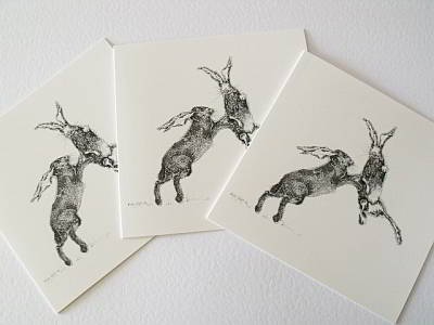 Boxing Hare Cards - Set of 3 + 1 bookmark by Allie Giles