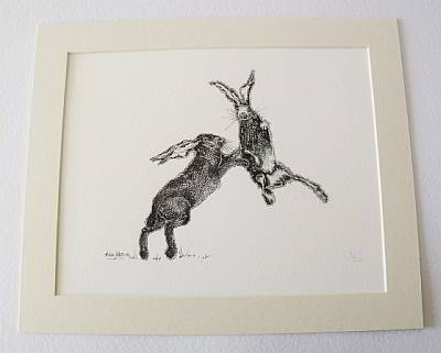 Boxing Hares Print by Allie Giles