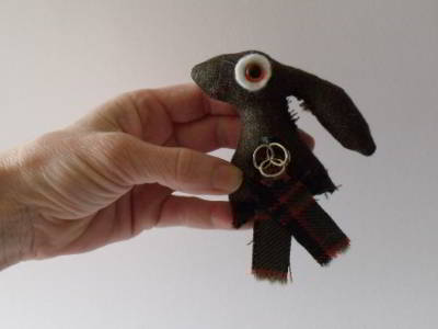 Tartan and Tweed Hare Brooch