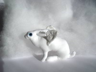 Guardian Angel Hare - Soft Sculpture by Annette Tait