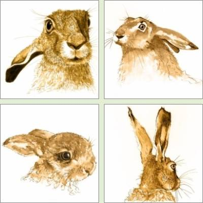 Set of 4 hare prints by Chris Thorn