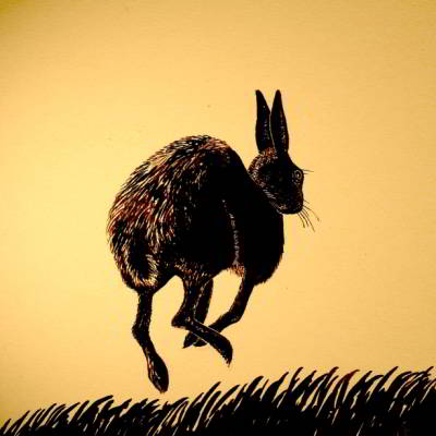 Over the Meadow, Brown Hare print by Chris Thorn
