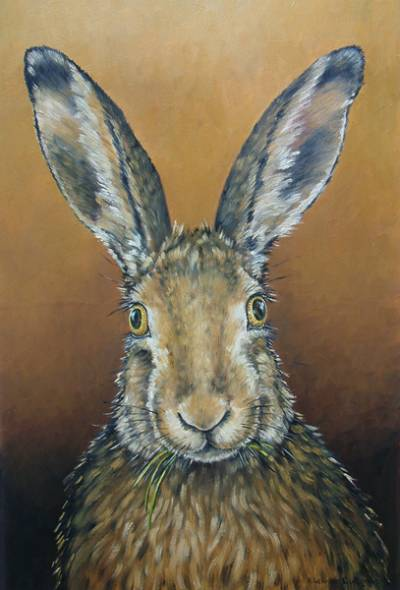 Startled Hare (Brown Background)